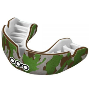 Opro Junior Power-Fit Single Colour Mouthguard – Camo Brown/Green/Silver