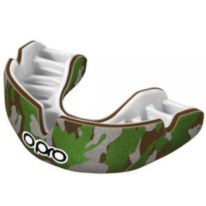 Opro Junior Power-Fit Single Colour Mouthguard – Camo Brown/Green/Silver