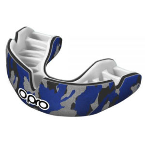 Opro Junior Power-Fit Single Colour Mouthguard – Camo Blue/Black/Silver