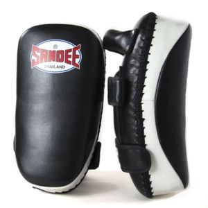 Sandee Curved Thai Leather Kick Pads –  Black/White
