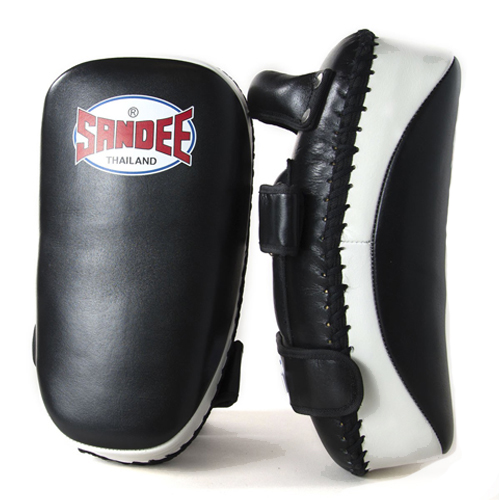 Sandee Curved Thai Leather Kick Pads –  Black/White