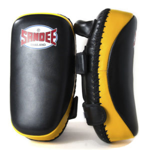Sandee Curved Thai Leather Kick Pads – Black/Yellow