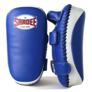 Sandee Curved Thai Leather Kick Pads –  Blue/White