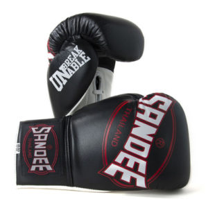 Sandee Cool-Tec Lace Up Pro Fight Leather Glove – Black/White/Red