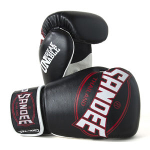 Sandee Cool-Tec Leather Sparring Glove – Black/White/Red