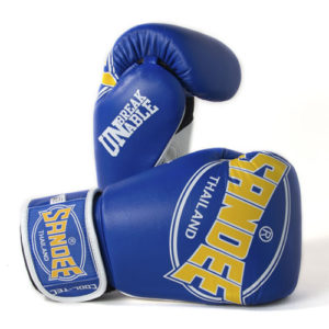 Sandee Cool-Tec Leather Sparring Glove – Blue/Yellow/White