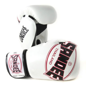 Sandee Cool-Tec Leather Sparring Glove – White/Black/Red