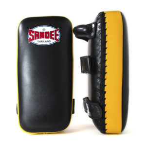 Sandee Large Extra Thick Flat Thai Kick Pads – Black/Yellow