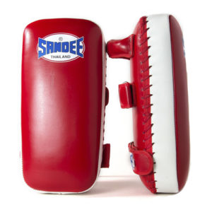 Sandee Large Extra Thick Flat Thai Kick Pads – Red/White