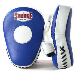 Sandee Leather Curved Focus Mitt – Blue/White