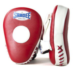 Sandee Leather Curved Focus Mitt – Red/White
