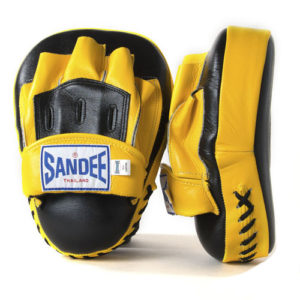 Sandee Leather Curved Focus Mitt – Black/Yellow
