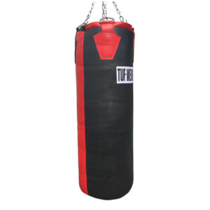 Tuf-Wear Leather Punchbag – Black/Red 4ft