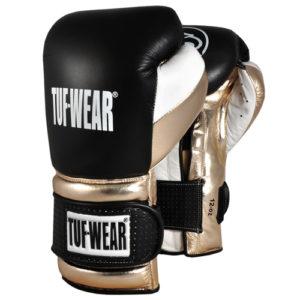 Tuf Wear Apollo Metallic Leather Sparring Glove – Black/Metallic/White