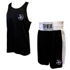 Tuf-Wear Club Junior/Kids Boxing Short and Vest Set – Black