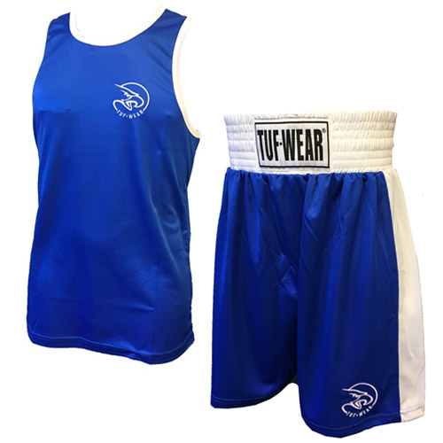 Tuf-Wear Club Junior/Kids Boxing Short and Vest Set – Blue