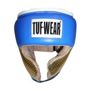 Tuf-Wear Apollo Metallic Leather Headguard with Cheek – Blue/Gold