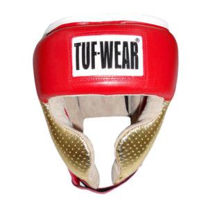 Tuf-Wear Apollo Metallic Leather Headguard with Cheek – Red/Gold