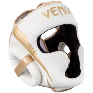 Venum Elite Cheek Headguard – White/Gold