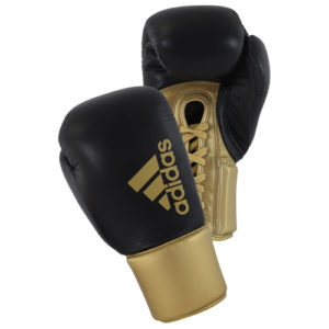 Adidas Hybrid 400 Pro Lace Boxing Gloves – Black/Gold