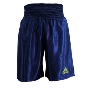 Adidas 18 Satin Boxing Shorts – Dark Blue/Solar Yellow