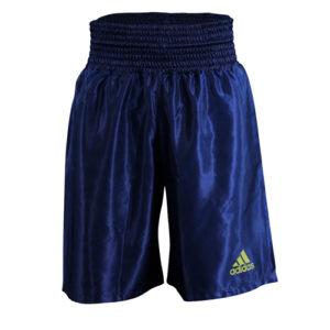 Adidas 18 Satin Boxing Shorts – Dark Blue/Solar Yellow
