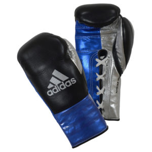 Adidas AdiStar BBBC Approved Pro Boxing Gloves – Black/Blue/Silver
