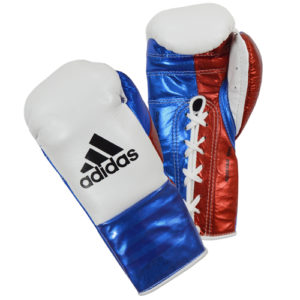 Adidas AdiStar BBBC Approved Pro Boxing Gloves – White/Blue/Red