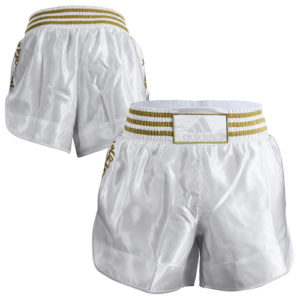 Adidas 18 Thai Boxing Shorts – Metallic White/Gold