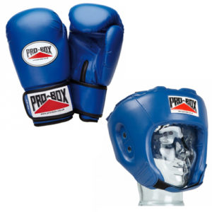 Pro-Box 'Base Spar' Junior Gloves and Headguard Boxing Set – Blue