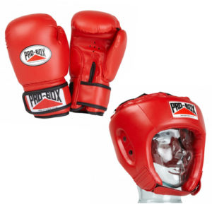 Pro-Box 'Base Spar' Junior Gloves and Headguard Boxing Set – Red
