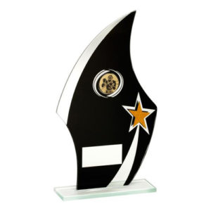 JR Jade Glass Flame Boxing Plaque/Trophy – Black/Silver/Gold