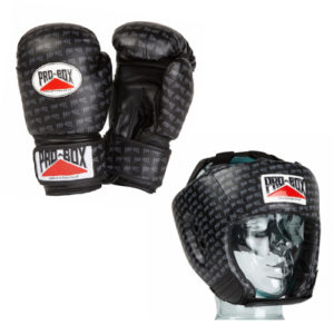 Pro-Box 'Base Spar' Junior Gloves and Headguard Boxing Set – Black Logo