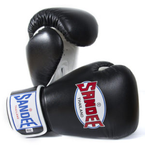 Sandee Authentic Leather Boxing Glove – Black / White