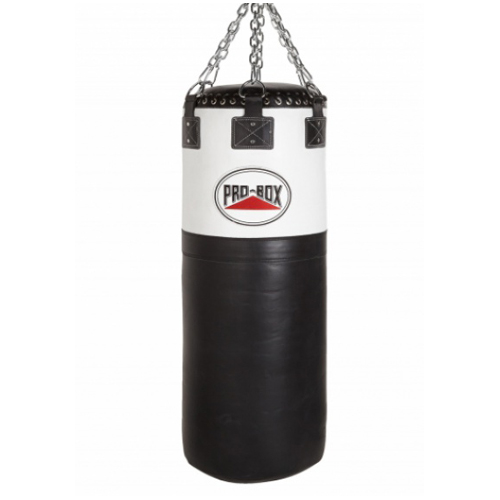 Pro-Box 'Black Collection' Leather Colossus Punchbag – Black/White