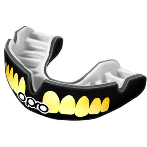 OPRO Junior Power-Fit Bling Mouthguard – Black/Gold Teeth