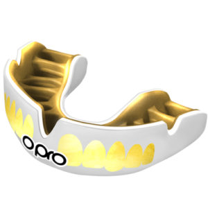 OPRO Power-Fit Bling Mouthguard – White/Gold Teeth