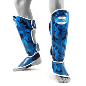 Sandee Junior Camo Synthetic Leather Boot Shinguard – Blue/White
