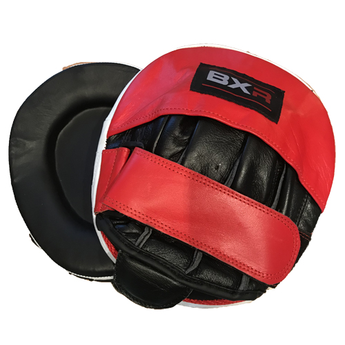 BXR Leather Double Gel Curved Hook and Jab Pads – Black/Red
