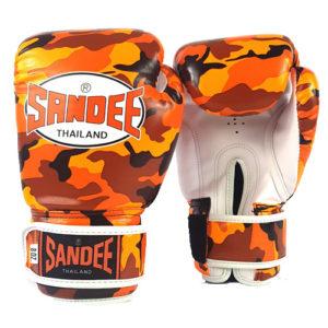 Sandee Junior Camo Synthetic Leather Boxing Glove – Orange/White