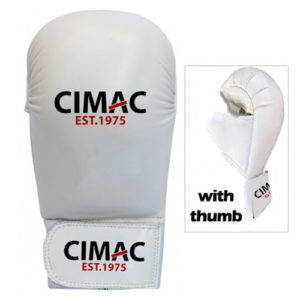 Cimac Competition Karate Mitts With Thumb – White