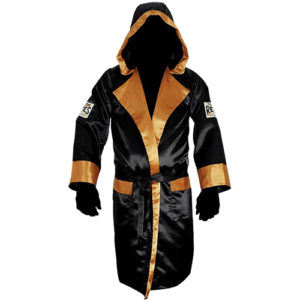 Cleto Reyes Satin Boxing Robe with Hood – Black/Gold