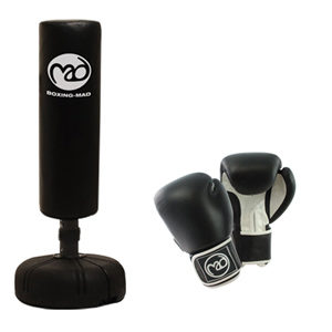 Boxing-Mad Punch Bag Tube and 10oz Leather Gloves