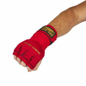 Pro-Box Gel Wrap with Knuckle Protector – Red/Gold