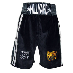 Bespoke Made Velvet Boxing Shorts With Mexican Braiding POA