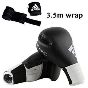 adidas Hybrid 100 Boxing Glove + Adidas 3.5m Wrap – Black