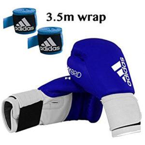 adidas Hybrid 100 Boxing Glove + Adidas 3.5m Wrap – Blue