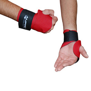 Ampro Neoprene Elasticated Wrist Wraps/Support with Thumb Hole – Black/Red