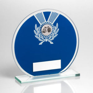 JR Glass Round Boxing Plaque/Trophy – Blue/Silver