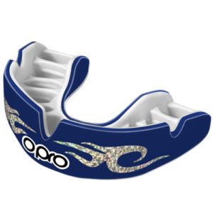 OPRO Junior Power-Fit Bling Mouthguard – Navy/Silver Urban